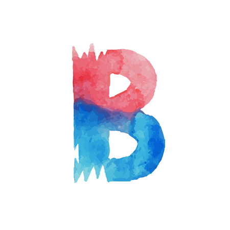 Colorful watercolor aquarelle font type handwritten hand draw abc alphabet letters. Illustration