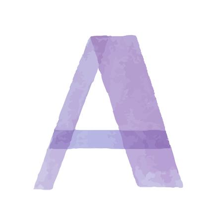 Watercolor aquarelle font type handwritten hand draw abc alphabet letters