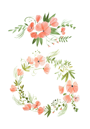 Aquarelle painting of floral wreath made of wild flowers isolated on white background Archivio Fotografico