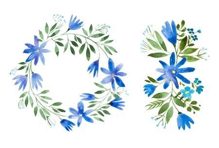 Romantic cornflower garland hand-drawn with watercolor technique. Hand-drawn rustic floral wreath Standard-Bild