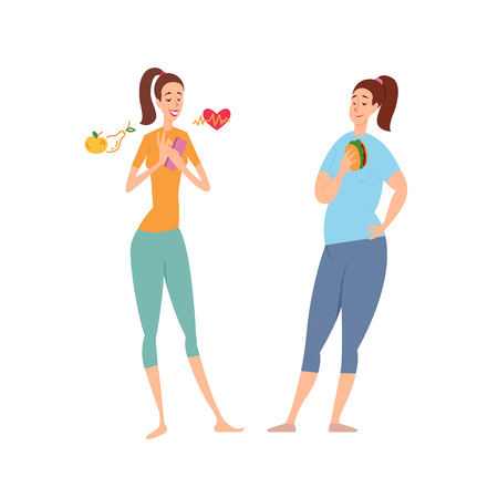 Slim and fat woman. Diet, nutrition sport