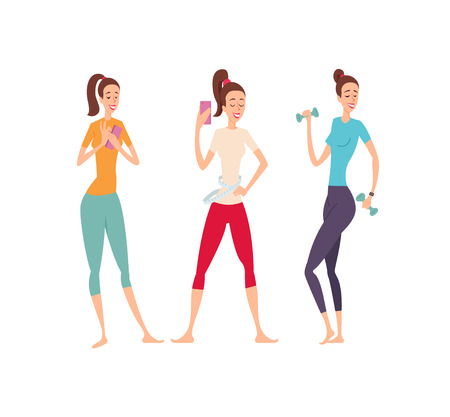 Three shapely friends with fitness gadgets posing and showing their excellent body Ilustrace