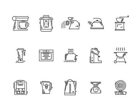 Line icons kitchen utensils appliances and kitchenware Illustration