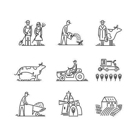 Lijn pictogrammen landbouw en landbouw Agronomie symbolen, mensen, dieren, boerderij veld, landbouwmachines, tractor transport