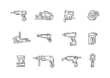 Working tools for construction and repair line icons drill, screwdriver, puncher, jig saw, fretsaw, plane, jointer, angle grinder. Illustration