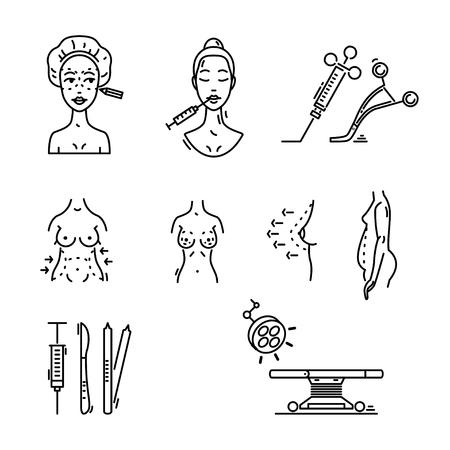ラインアイコン整形手術、美容医学、化粧品の手順。  イラスト・ベクター素材