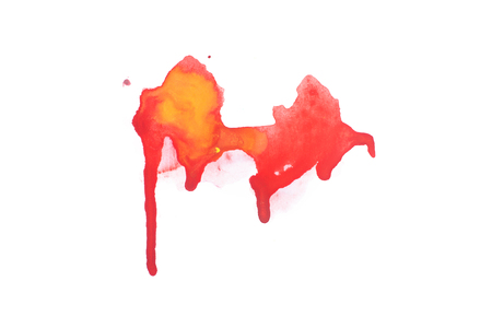 Abstract watercolor aquarelle hand drawn colorful shapes art red color paint or blood splatter stain Banco de Imagens