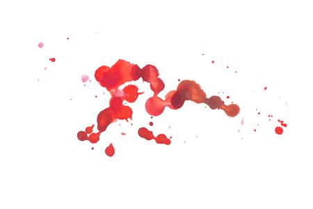 抽象的な水彩アクアレル手描きカラフルな形状アート赤色塗料や血液スプラッタ染色