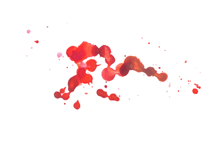 Abstract watercolor aquarelle hand drawn colorful shapes art red color paint or blood splatter stain Stok Fotoğraf