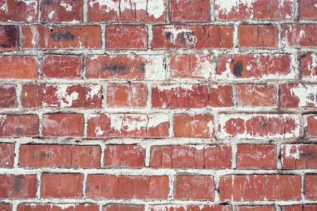 レンガの壁、赤い石のブロックの古いテクスチャ。背景。