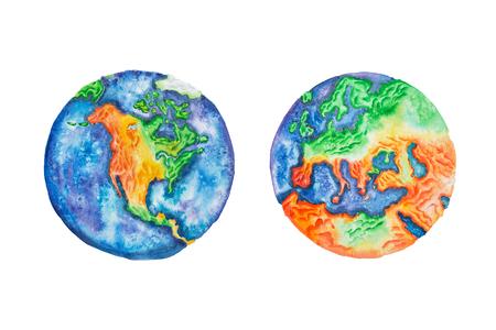 지구. 행성 지구 북아메리카와 유럽 본토와 대륙의 수채화 그림.