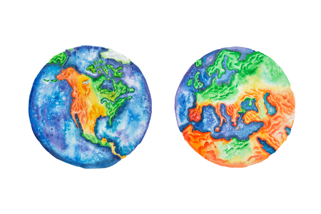 Globe. Watercolor illustration of planet Earth North America and Europe mainlands and continents.