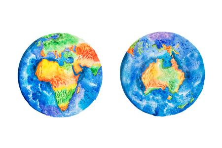 Wereldbol. Waterverfillustratie van de continenten van aardeAarde en Australië. Stockfoto