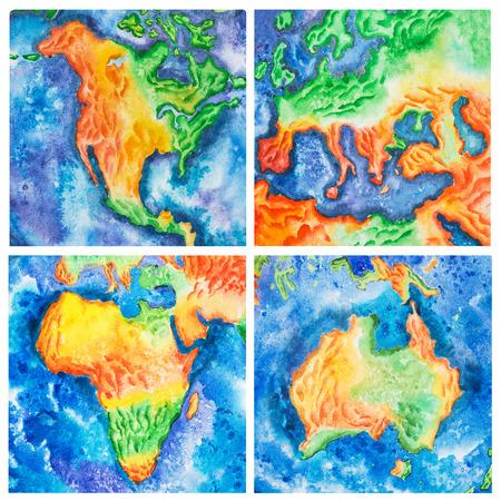 Kaart. Waterverfillustratie van het vasteland van Australië Afrika Amerika Europa, continenten.