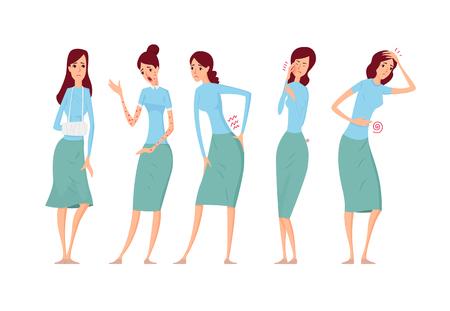Verschiedene Arten von weiblichen Krankheiten Vektor-Illustration Standard-Bild - 95225728