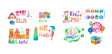 Hand-drawn watercolor logo set for kids club. Collection of promotional symbols for playground and entertaining center for children.
