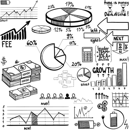 business finance doodle hand drawn elements. Concept - graph, chart, pie, arrows signs
