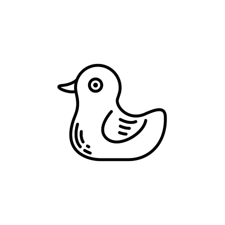 Thin line baby icon. Toy, plaything duck, rubberduck.