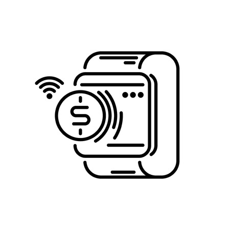 Payment methods thin line icon. Smartwatch Pay
