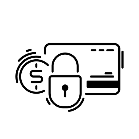 Pay, credit card, protection, secure. Payment methods thin line icon Stock Photo