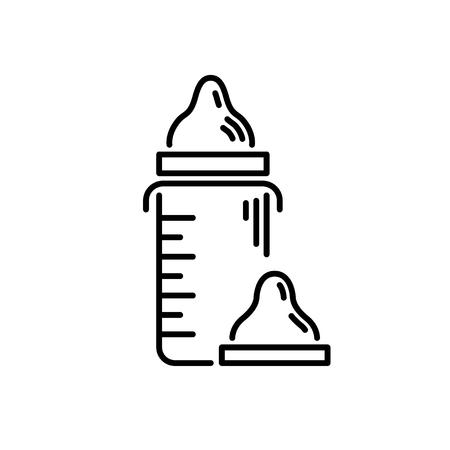 細いラインの赤ちゃんのアイコン人工授乳飲料ボウル。  イラスト・ベクター素材
