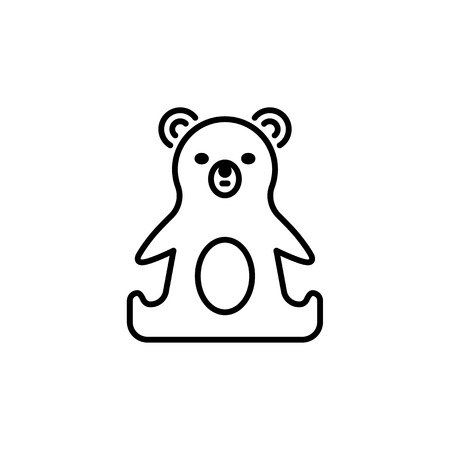 Thin line baby icon. Toy, plaything bear.