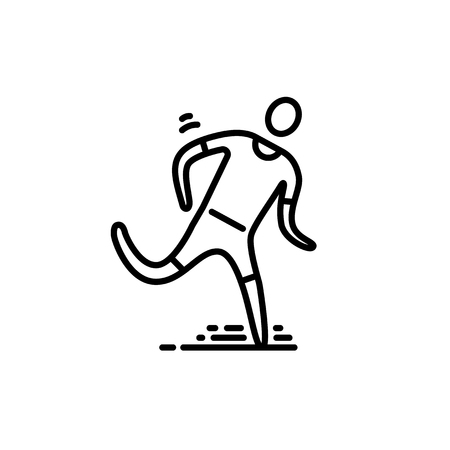 Thin line icon. Running man cardio workout Illustration