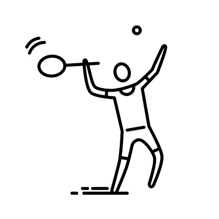Thin line icon. Tennis or badminton player