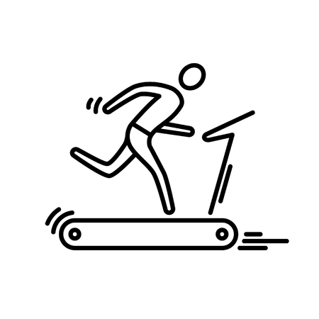 Thin line icon. Treadmill running man cardio workout