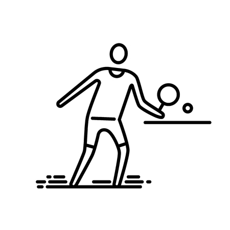Thin line icon. Table tennis player. Stock Illustratie