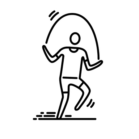 Thin line icon. Man exercising skipping rope