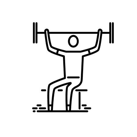 Thin line icon. Man with barbell doing weghtliftind. Иллюстрация