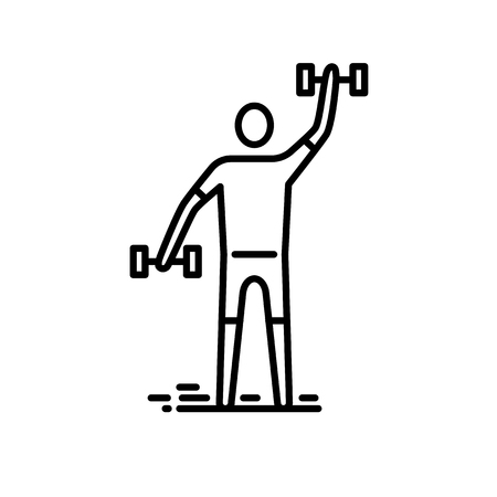 Thin line icon. Man exercising with bumbbell