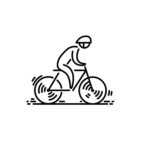 Bicycle cyclist Bike icon vector. Cycling. Thin line icon.