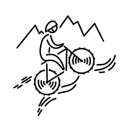 Mountain bike cyclist icon vector. Cycling. Bicycle. Thin line icon.