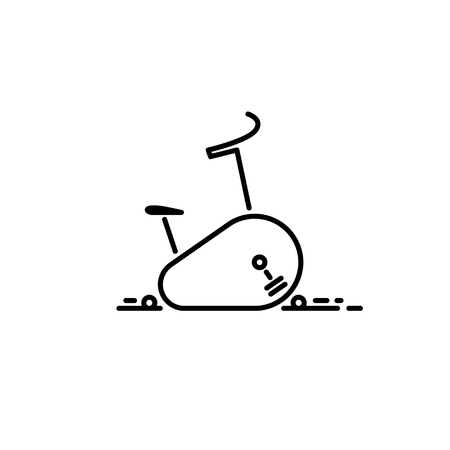 Icon of stationary  Bicycle. Cardio training apparatus Cycling Thin line icon. Stock Vector - 96288544