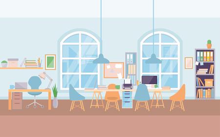 空の近代的なオフィスインテリア職場の机、コワーキングセンター大学。
