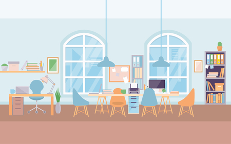 Empty modern office interior workplace desk, co-working center university.