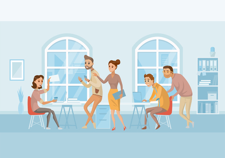 Coworking center. Business people working and talking in office