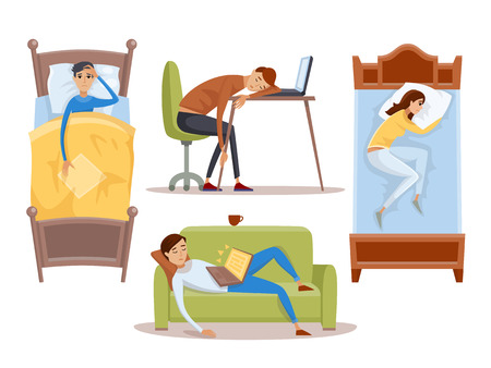 Sleeping young woman at home vector illustration.
