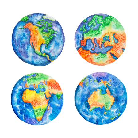 Globe. Watercolor illustration of planet Earth mainlands and continents.