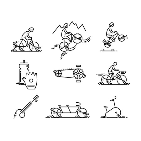 Bicycle. Bike types icon vector. Cycling set. Thin line icons.