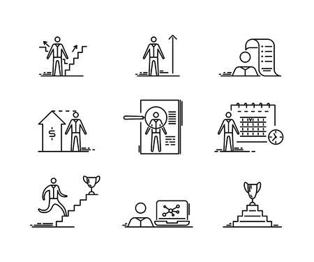 Thin line icons set. Business people development growth headhunting Finance and startup outline vector symbol Ilustração