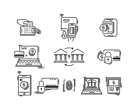 Payment methods thin line icons. Pay online, mobile, credit card, shopping, banking Ilustração