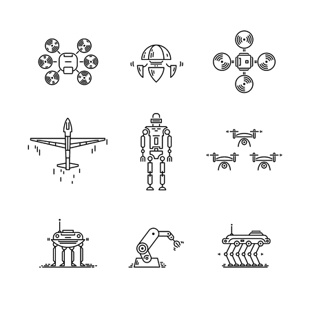 Thin line icons set of high technology. Artificial intelligent robot, quadcopter, drone, plane and manipulator Illustration