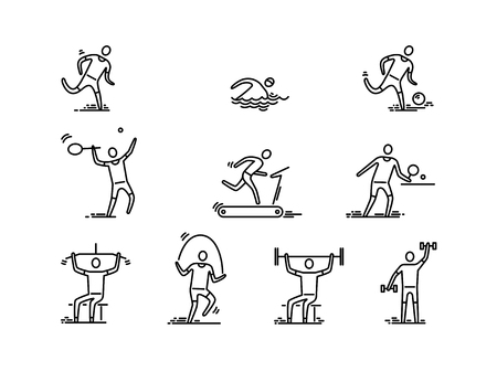 People, sport and fitness vector icons. Thin line icons.