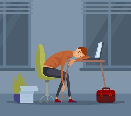Sleeping student schoolboy pupil at school vector illustration Vettoriali