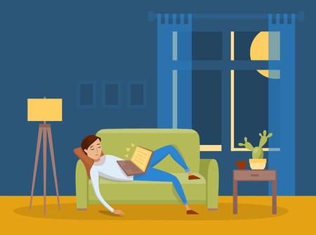 Sleeping young man at home vector illustration Ilustração