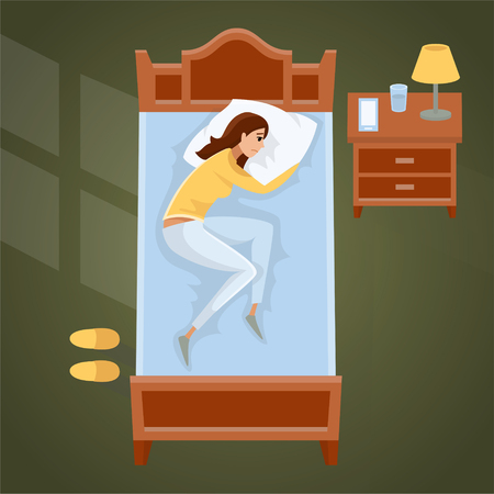 Sleeping young woman at home vector illustration.