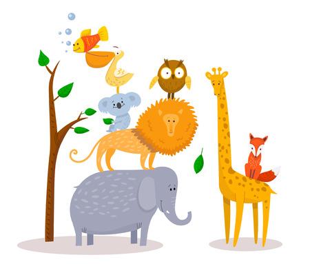 Cute funny cartoon animals Lion, giraffe, elephant, fox, owl. Stock Illustratie